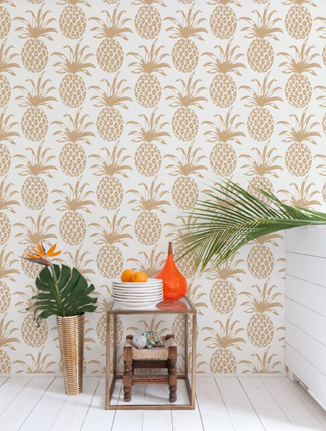 Piña Sola Designer Wallpaper by Aimée Wilder - Measurements: 28 inches wide × 5 yards long - Design Repeat: 25.25 inches - Design Match: Straight - Main Element Size: Pineapple measures 13 inches tall