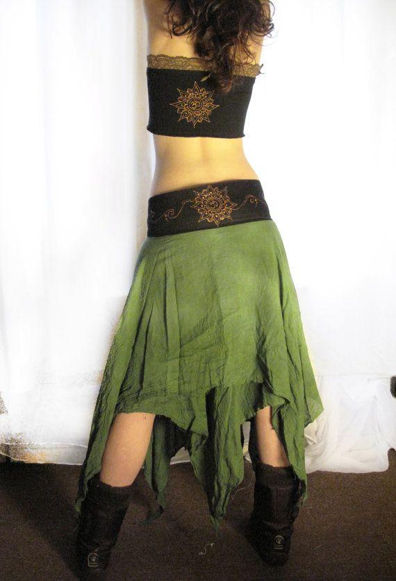 Maxi long wrap skirt. Mandala pixie long skirt, earthy skirt, warrior skirt, festival skirt, tied dye skirt. elven clothing, tribal