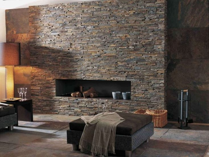 parement pierre avec plaquettes de pierre naturelle ou aspect brique - Steinwand