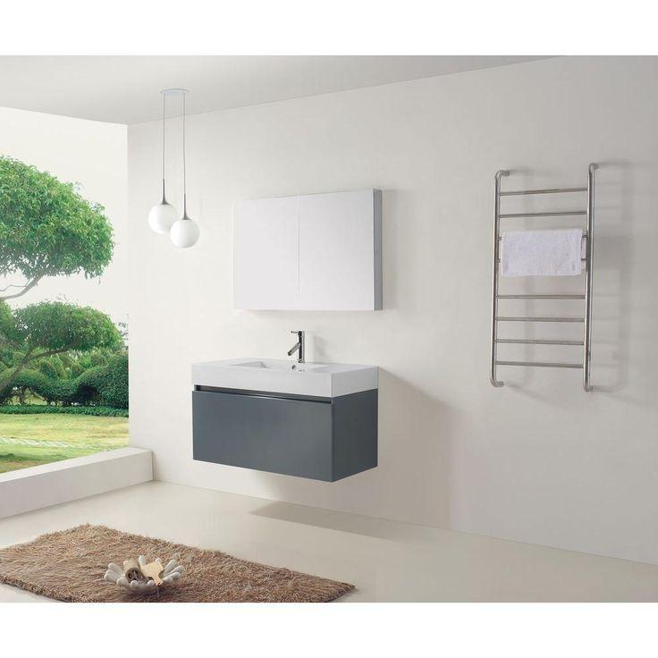 Photo Gallery Website Virtu USA Zuri in Vanity in Grey with Poly Marble Vanity Top in