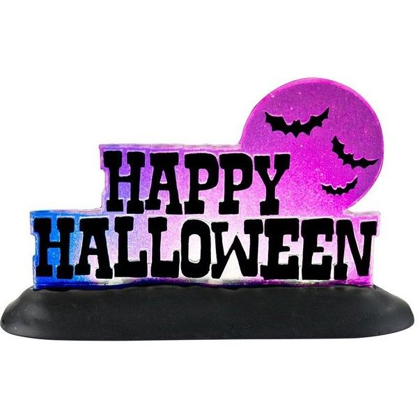 Department 56 4025407 Halloween Accessories for Dept 56 Village... (£8.23) ❤ liked on Polyvore featuring home, home decor, holiday decorations, department 56, lighted signs, halloween figurines, department 56 figurines and lit signs