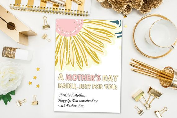 Mother's Day Cards / Funny Mother's Day Card / Haiku / Naughty Card, Conceived with Father, Ew / Mothers Day / Printed Card