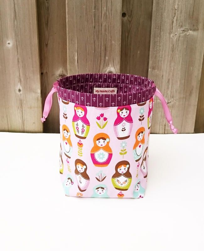 Sock Knitting Bag in Russian Dolls Print, two at a time knitting, Knitting Tote, Drawstring Bag, Project Bag - Small Socksack by MyNeedleCrafts on Etsy