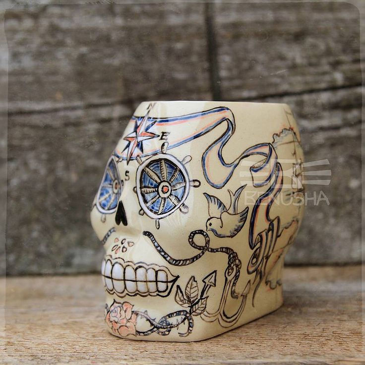 Tiki mugs - Marina by Benusha. Hand-made, hand-painted ceramics. Kubki Tiki od Benusha, ręcznie malowana ceramika. sugar scull, ceramic mugs, pottery mugs