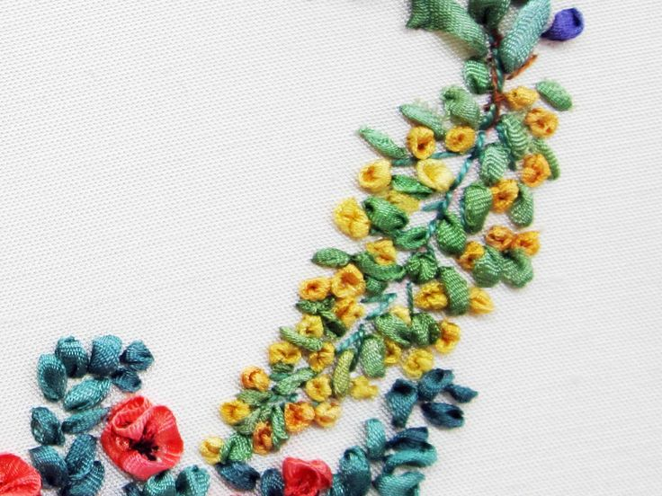 Tour Embroidery Ribbon Garland Online Tutorial Lesson 5 of 8: Golden Rod