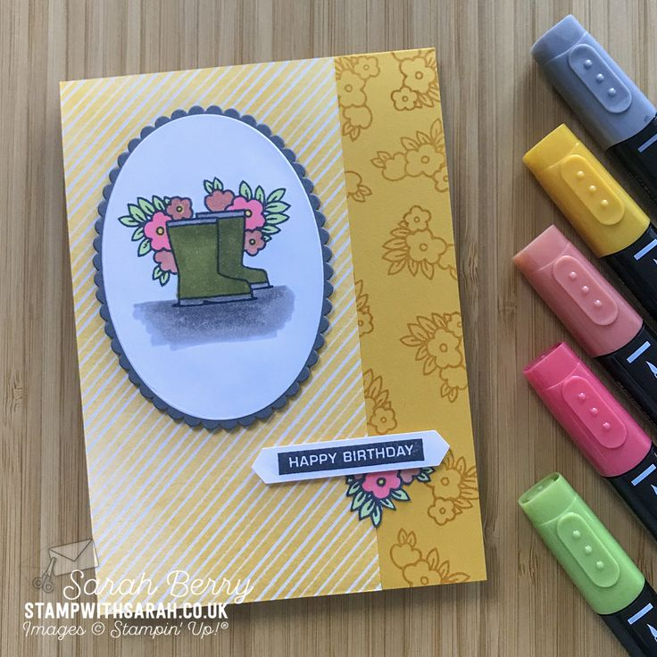 Wellington Boots with the Under My Umbrella stamp set from