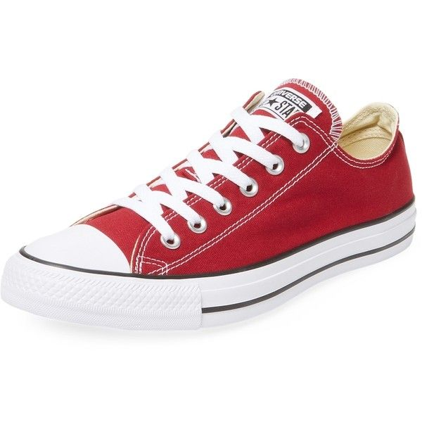 Converse Women's Chuck Taylor Oxford Canvas Low Top Sneaker - Red,... ($45) ❤ liked on Polyvore featuring shoes, sneakers, red, red canvas shoes, canvas shoes, canvas lace up sneakers, converse trainers and red trainers