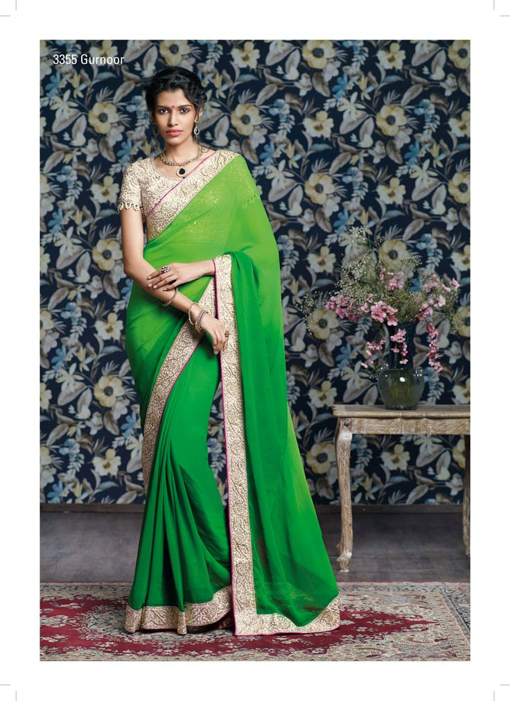 Parrot green pedding georgette saree along with fantastic & eye catching resham-jari work cutting on the blouse as well as on border will seriously made this saree, Incomparable!