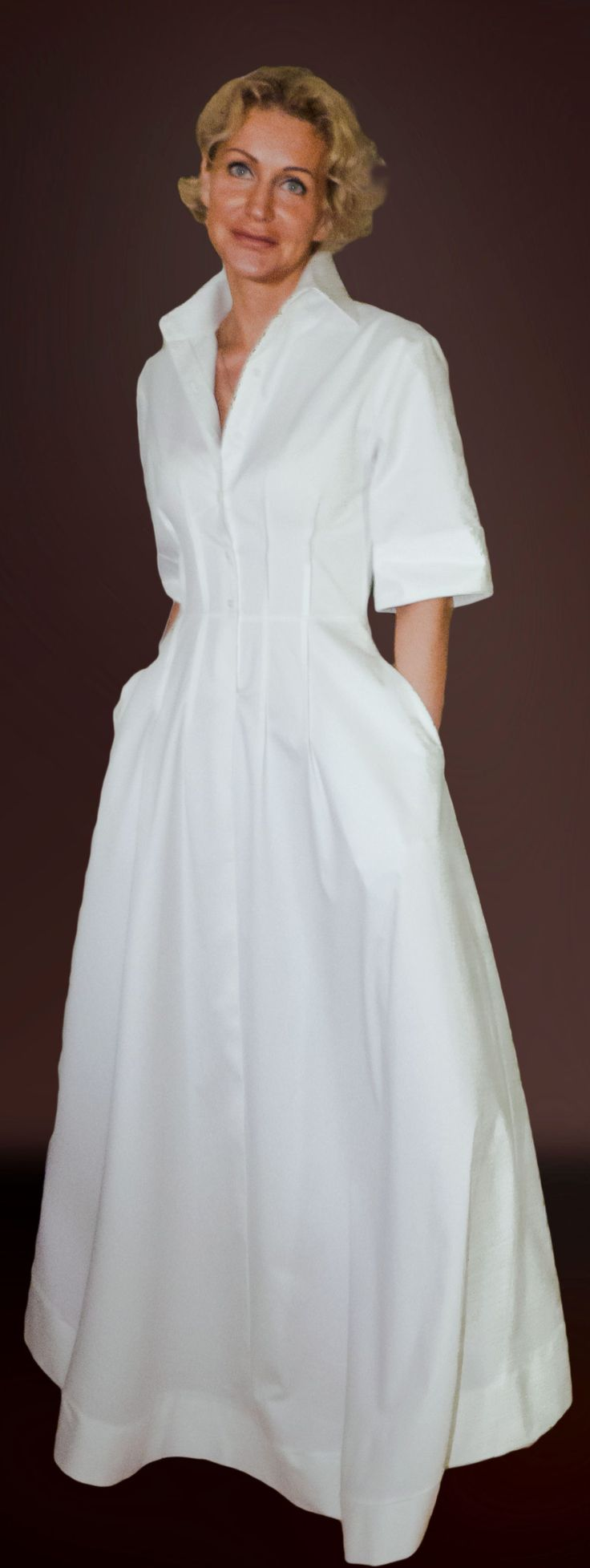 Платье - рубашка белое. Дизайнер Лана Кмекич. Москва.