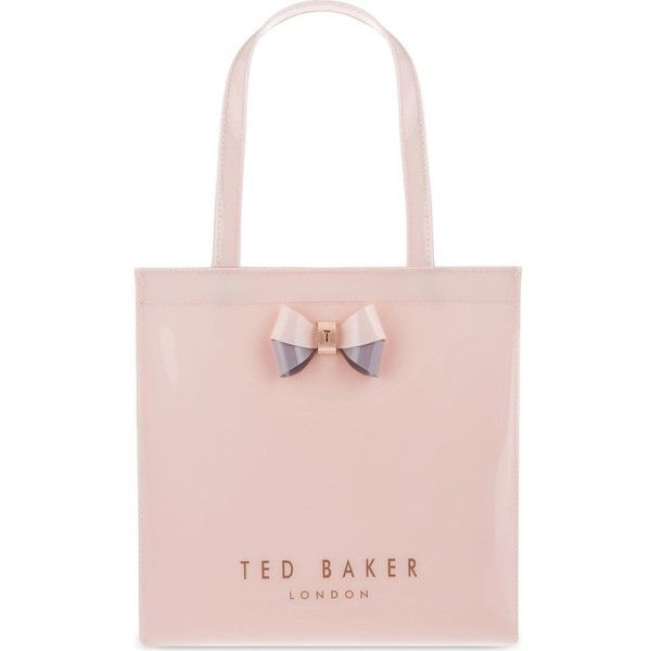 TED BAKER Minacon Icon small shopper ($38) ❤ liked on Polyvore featuring bags, handbags, tote bags, pale pink, pink purse, ted baker purse, shopping bag, top handle purse and shopping tote bags