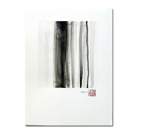 Original black on white ink wash painting zen by VictoriaKloch