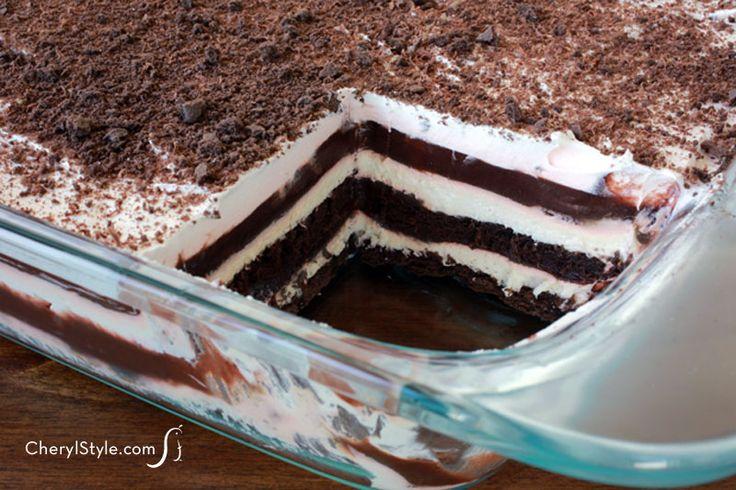 easy #chocolate #dessert #lasagna recipe with pudding & cream cheese | CherylStyle.com