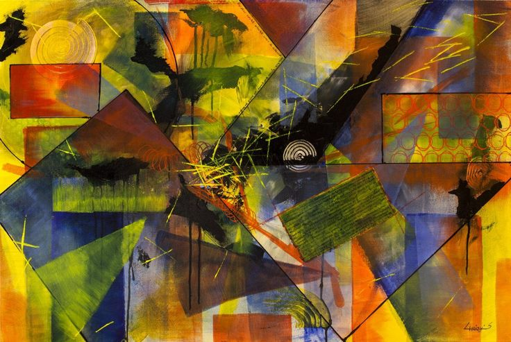 Euforische mensen stad, schilderij van Christian van Hedel | Abstract | Modern | Kunst