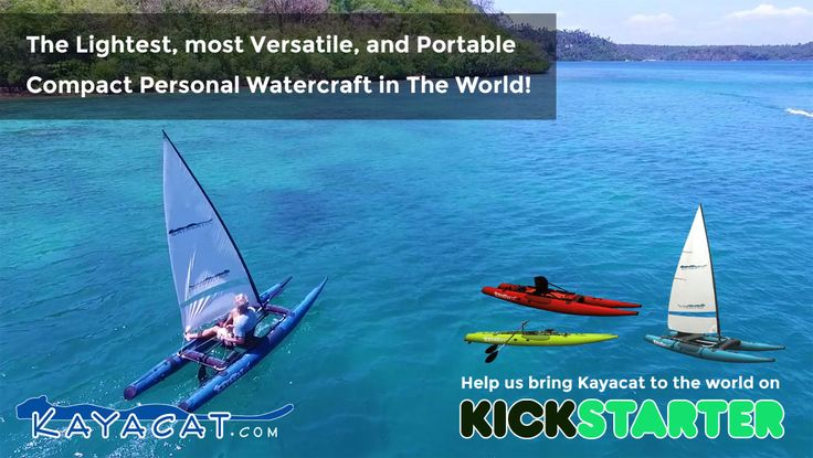 Kayacat proudly introduces the most lightweight, versatile, multi-mode, compact personal watercraft in the world!  Paddle, Sail, Row, Stand-Up Paddle, Motorsail and MUCH more.  Kayacat needs community support to get into full production, so we are launching a #kickstarter project VERY soon. Pledgers to our project will be able to pre-order Kayacats at great discounts, and be first in line to receive their Kayacat when they roll off the production line!
