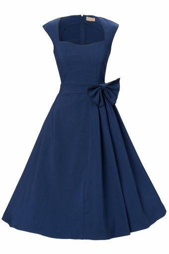 Love this style--Lindy Bop - 1950's Grace Midnight Blue Bow vintage style swing party.