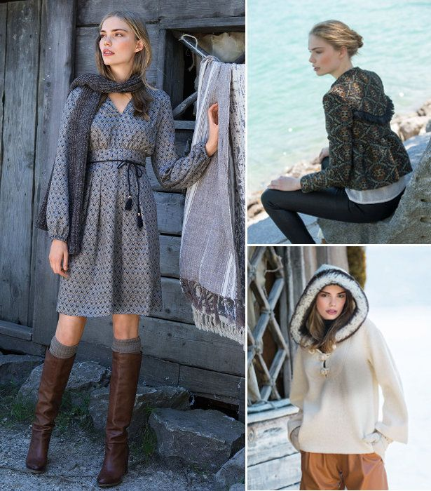 These look from the November 2016 issue of BurdaStyle are extra cool and made in sleek and stylish soft, neutral shades with extra detailing such as exaggerated hand stitching, faux fur trim and fringe!