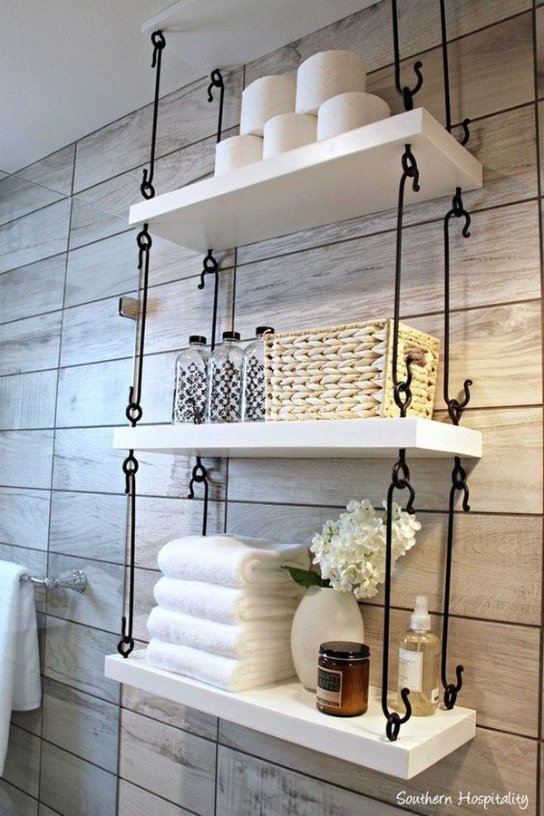 25 best ideas about hanging shelves on pinterest wall for Washroom decoration designs