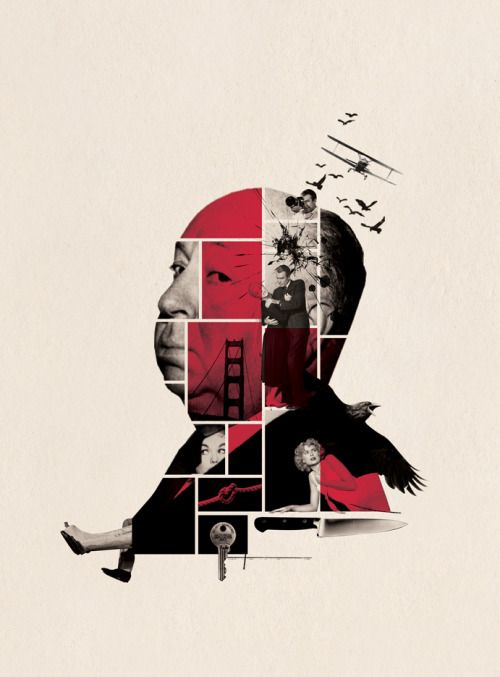 """Alfred Hitchcock: The Psycho Genius of Hollywood.The Daily Beast, cover illustration. """"To say he's making a comeback would be misleading, because he never went away. Alfred Hitchcock's place in the pantheon of great directors has long been secure, thanks to a string of classics stretching from the 1930s (…).""""  This illustration was killed. This is a draft."""