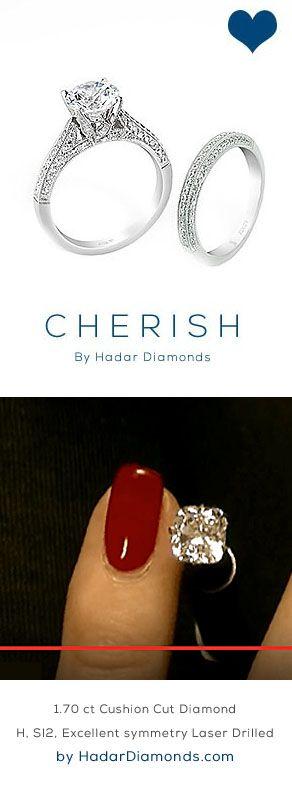 Pretty Cushion Cut Diamonds by HadarDiamonds.com . 1.70 carat Cushion Cut Diamond. H, SI2, Excellent Polish, Excellent Symmetry, Laser Drilled Diamond. Actual video available. #cybermonday #diamonds