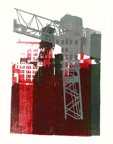 - Gray construction crane and water-towers in New York City -  - giclee fine art print, from her original mono-type collage, for sale; by Dutch graphic woman artist Hilly van Eerten