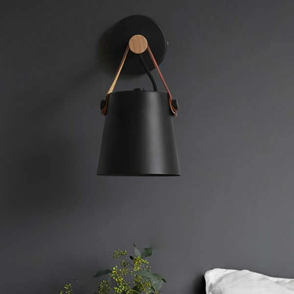 Nordic Leather Belt Wall Light Black Black Wall Lights Bedside Lighting Industrial Bedside Light