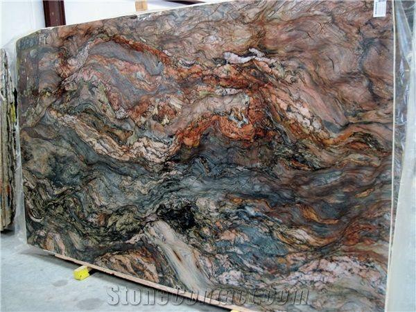 Blue Fire Fusion Quartzite Slabs In 2020 Granite Slab Granite Stone Stone Slab