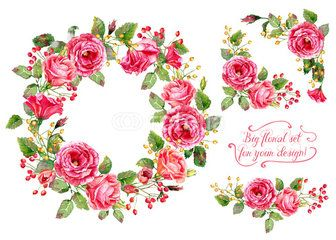 Set of different red, pink flowers, frame, decorative corners for design. Watercolor roses, leaves. Floral set for your design.