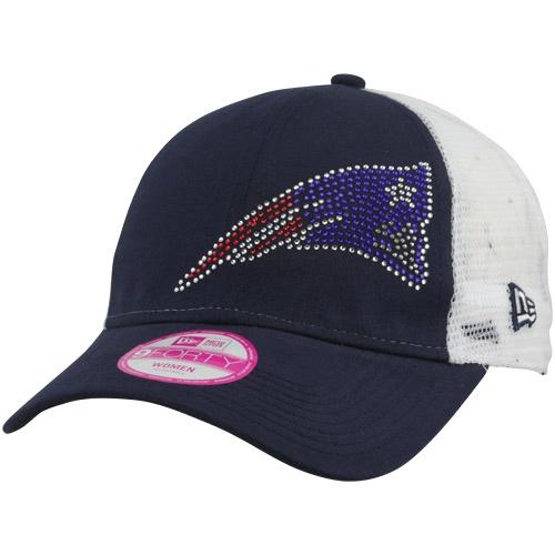 New Era New England Patriots Ladies Jersey Shimmer Mesh Adjustable Hat - White/Navy Blue