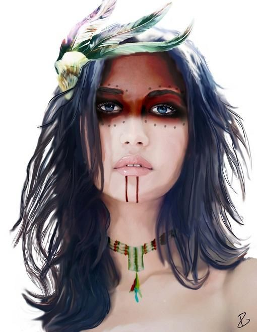 Native Indians Girl Art | ... girl, just got inspired by kind of the aztec and native american