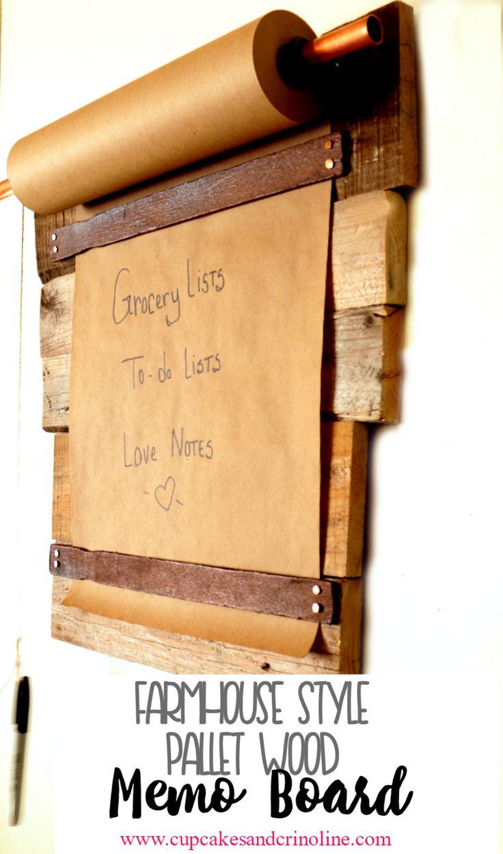 Farmhouse style DIY pallet wood memo board. www.cupcakesandcrinoline.com