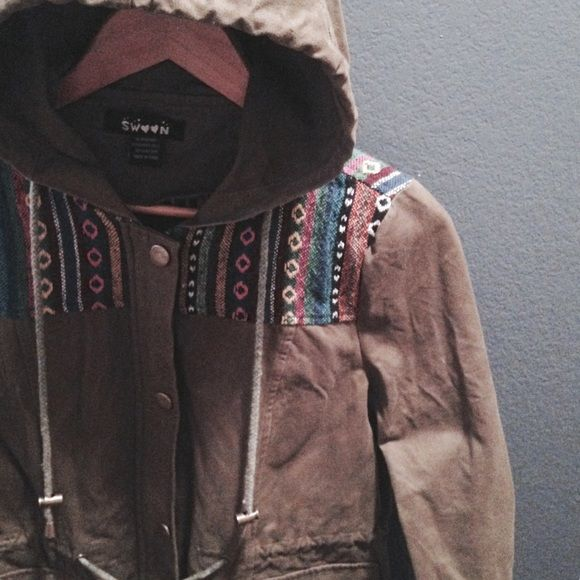 """boho hooded parka / sale Worn a lot. Good Condition; minimal signs of wear/wash and the drawstrings around the waist are faded. But the rest of the jacket is still in great shape. Size M, fits slightly small. Bust- approx. 18.5"""" across, Waist- approx. 18"""" across, Length- approx. 25"""". Not Modeling. No Hold. No Trades. No PayPal. Price is Firm. Swoon Jackets & Coats"""