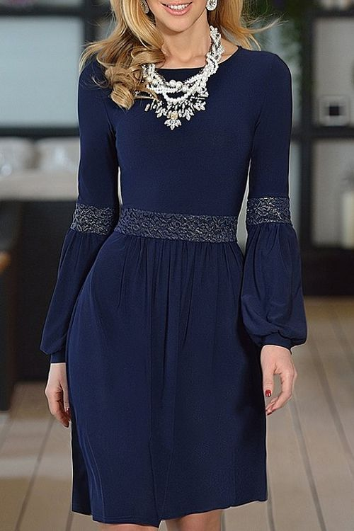 Jewel Neck Lace Splicing Long Sleeve Dress
