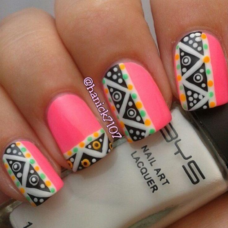 Neon pink Aztec nail art | Nail Design | Pinterest | Nail ...
