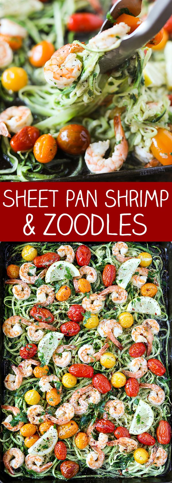 Sheet Pan Shrimp and Zuchinni Noodles aka Zoodles - even the zucchini noodles cook on the same pan!