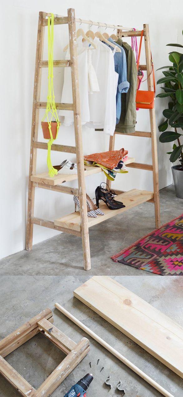 Armario reciclando una escalera / http://apairandasparediy.com/