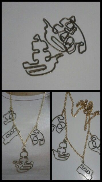I've got these cutest paperclips ever, and too fond to use them, so I made this cute necklace. Love it so so much!