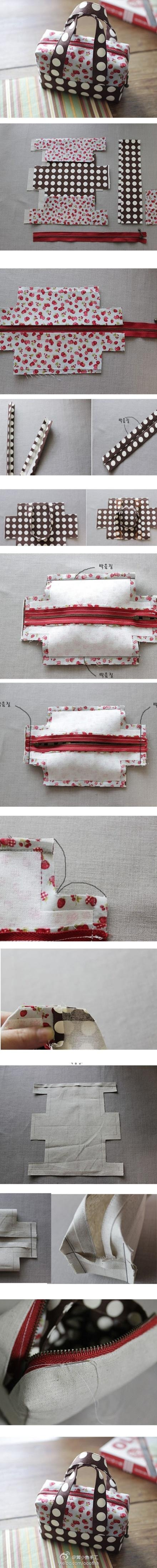 """Cute DIY Bag - very close to the pattern I have, simple to make, very very useful in all sizes. Great for travel, makeup bags, """"in-purse"""" bags, etc. You can even keep your seed packets in them!"""