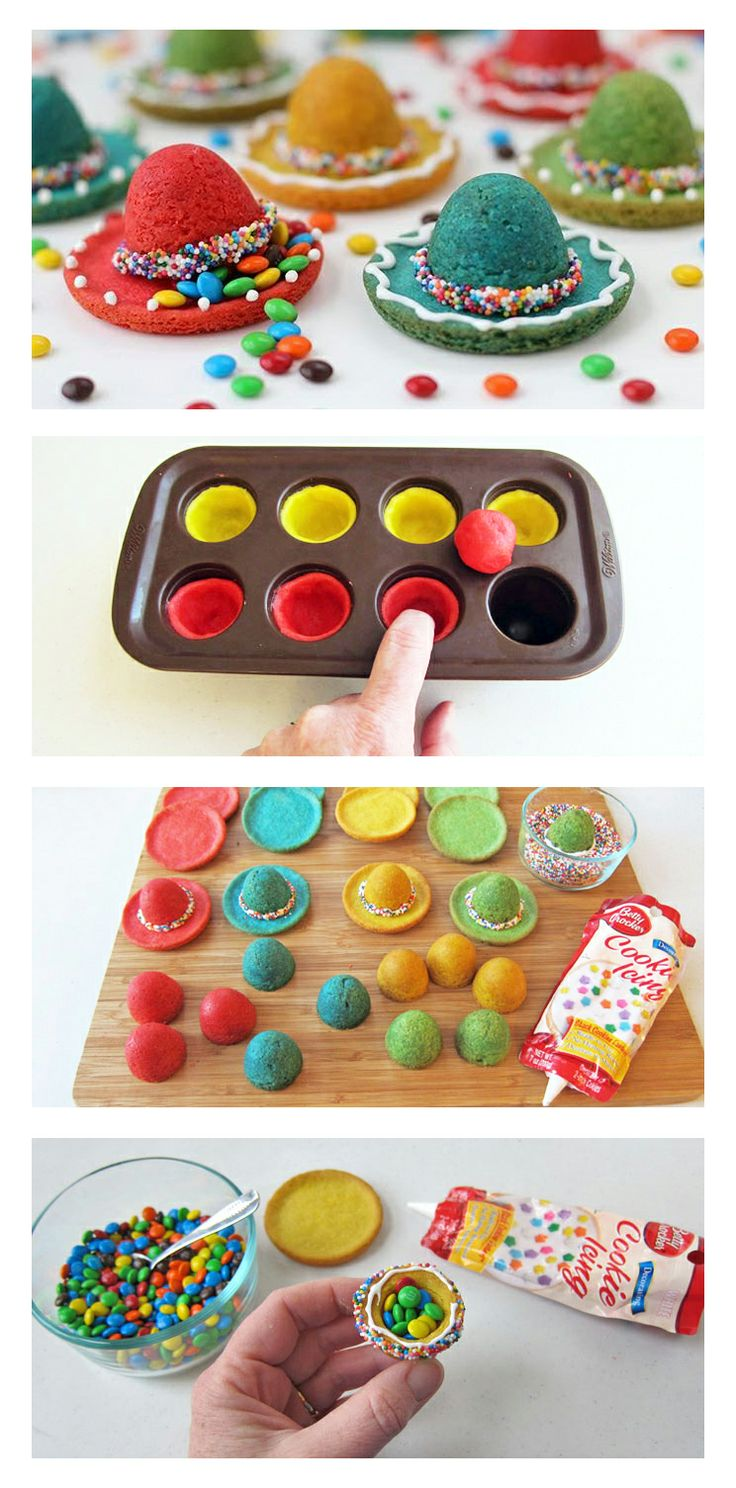hmmmm - Cinco de Mayo sombrero piñata cookies - recipe directions... So freakin cute!!