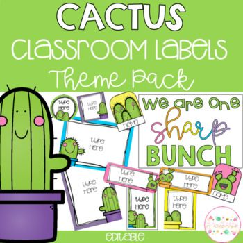 Cactus Classroom Theme Pack - Editable Name Tags, Labels a