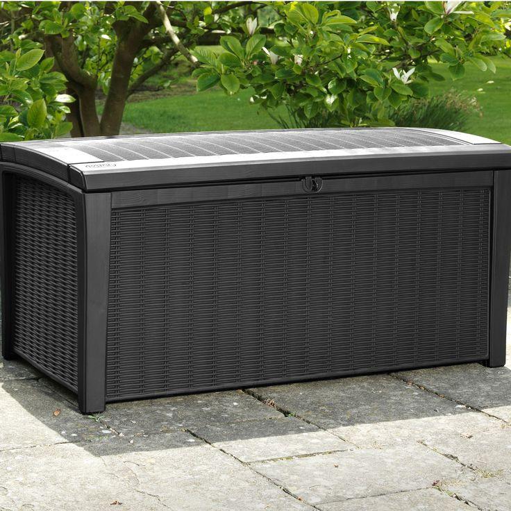 £98 Height625mm Width1.295m Depth700mm  Borneo Rattan Effect Plastic Garden Storage Box | Departments | DIY at B&Q