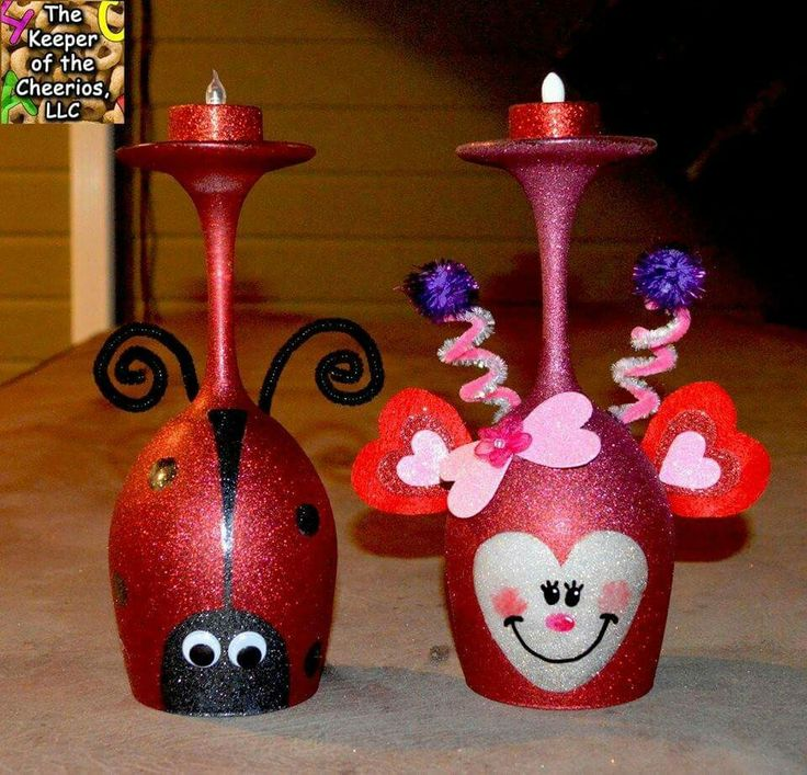 love bug wine glass candle holdersfor valentines day these are so