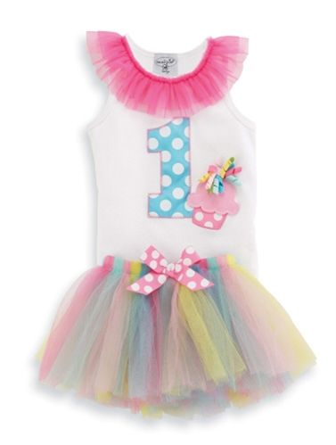 She will be the life of the party in this 2-piece set that includes multi-colored tutu and tank with chiffon trim and number 1 applique. #MudPieGift