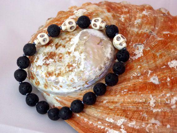Lava Skull bracelet by NorthernTamarisk on Etsy