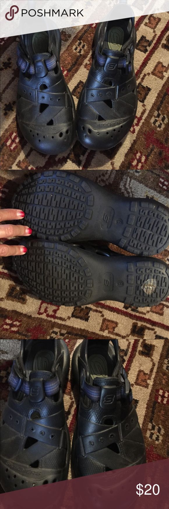 sketchers Walking Sandal/Shoes EUC. Maybe worn twice.  Velcro Adjustable Straps. Let Light Weight.  Smoke Free Home Skechers Shoes