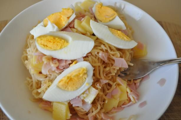 Quick and easy dinner idea... (by the way 2 minute noodles=Ramen noodles)