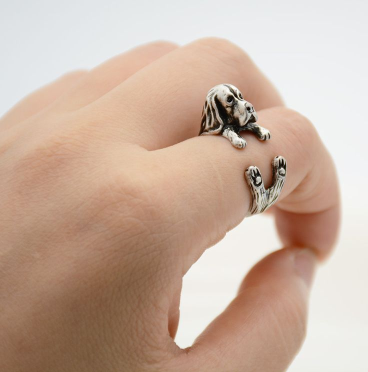1 Piece Vintage 3D Basset Hound Puppy Golden Retriever Animal Wrap Ring Men Jewelry Anillos Boho Chic Dog Rings For Women Anel
