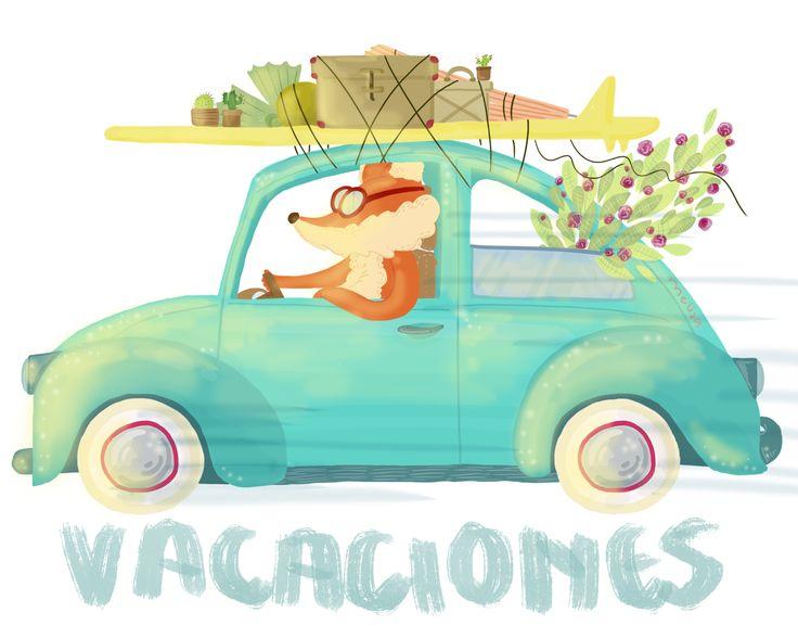Zorrito en vacaciones.  #fox #vacations #summer #verano #vacaciones #doodle #sketch #colors #freetime #art #digital #illustrations #ilustracion #draw