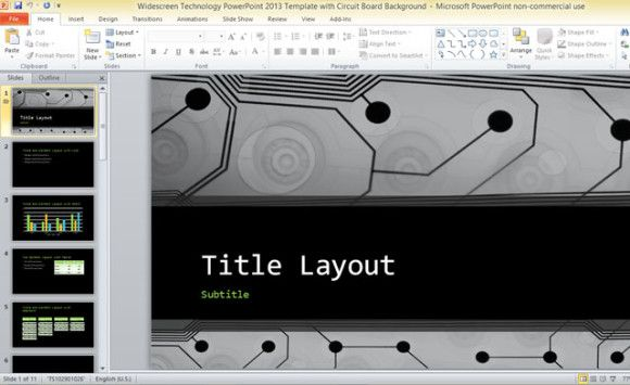 #widescreen technology template for PowerPoint 2013 #template with circuit board #PowerPoint #background