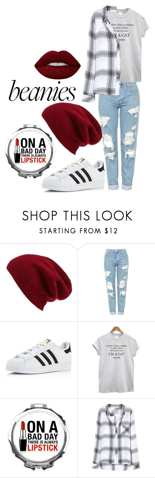 """""""Bad hair day"""" by luca-unicorn ❤ liked on Polyvore featuring Halogen, Topshop, adidas, Rails and Lime Crime"""