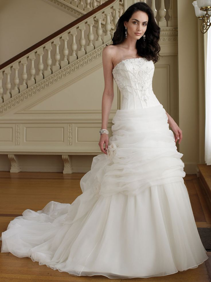 slimming perfect beaded strapless organza ball gown wedding dress with draped underskirt